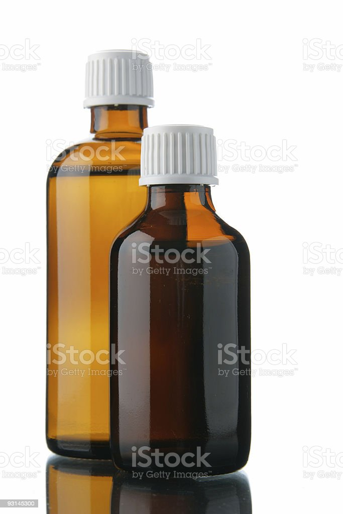 Small bottles with drug stock photo