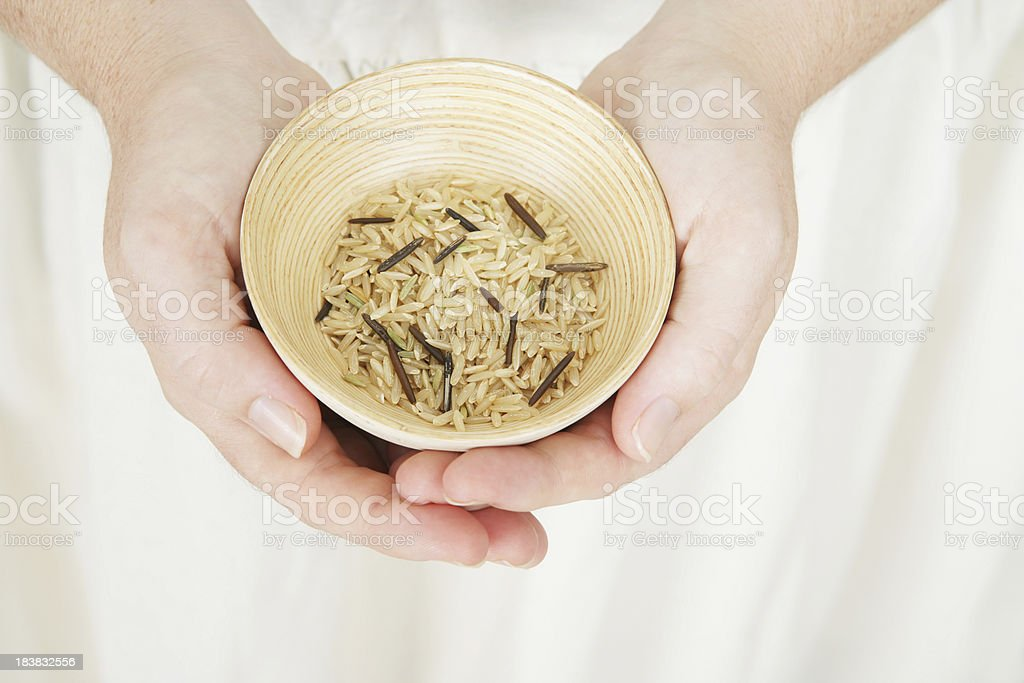 Small bowl of Rice stock photo