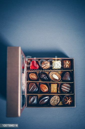 183269671istockphoto A small box of chocolate pralines and truffles assorted. Blue toned background, directly above. 1057598316