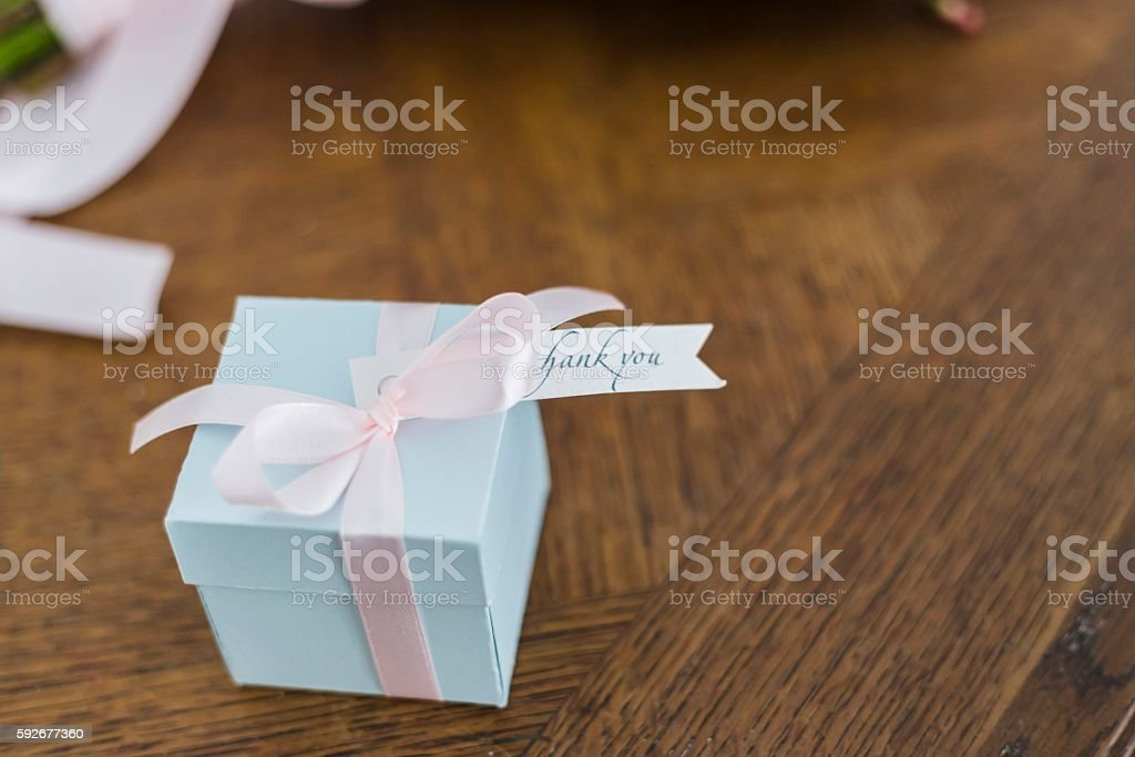 Small box with a gift stock photo