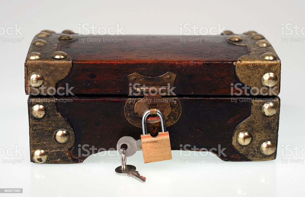 Small box with keys and lock royalty-free stock photo