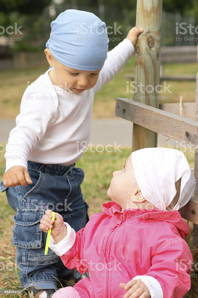 small boy and girl royalty-free stock photo