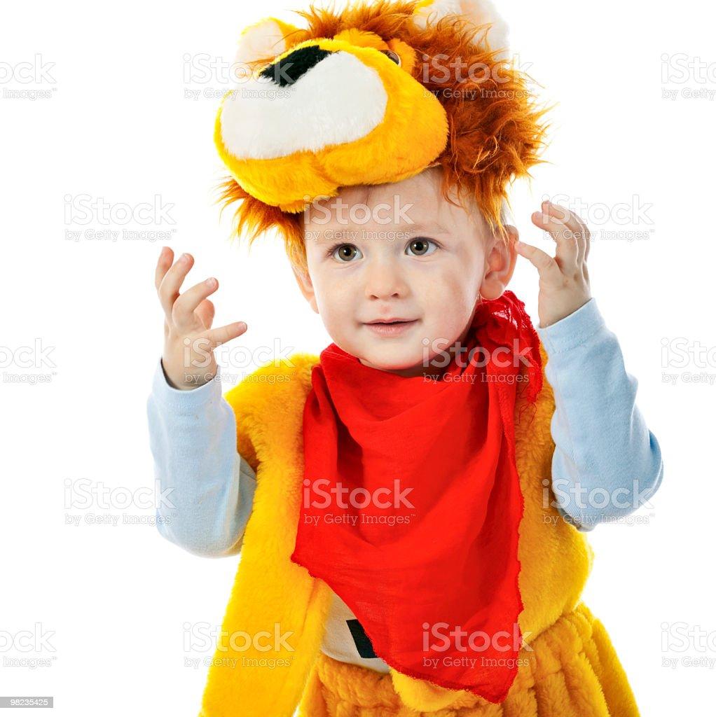 작은가 남자아이 롤모델로서 lion royalty-free 스톡 사진
