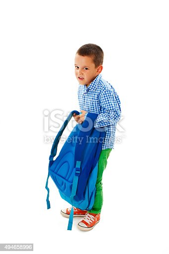 istock Small boy carrying heavy school bag 494658996