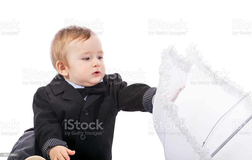 Small boy in a black coat royalty-free stock photo
