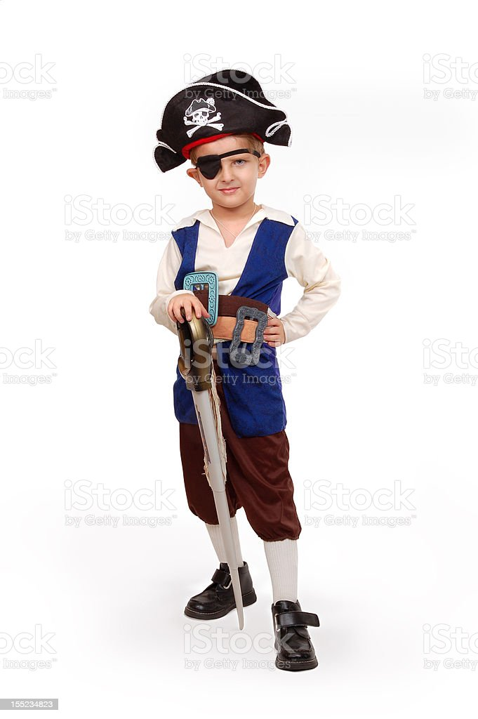 Small boy in the pirate costume stock photo