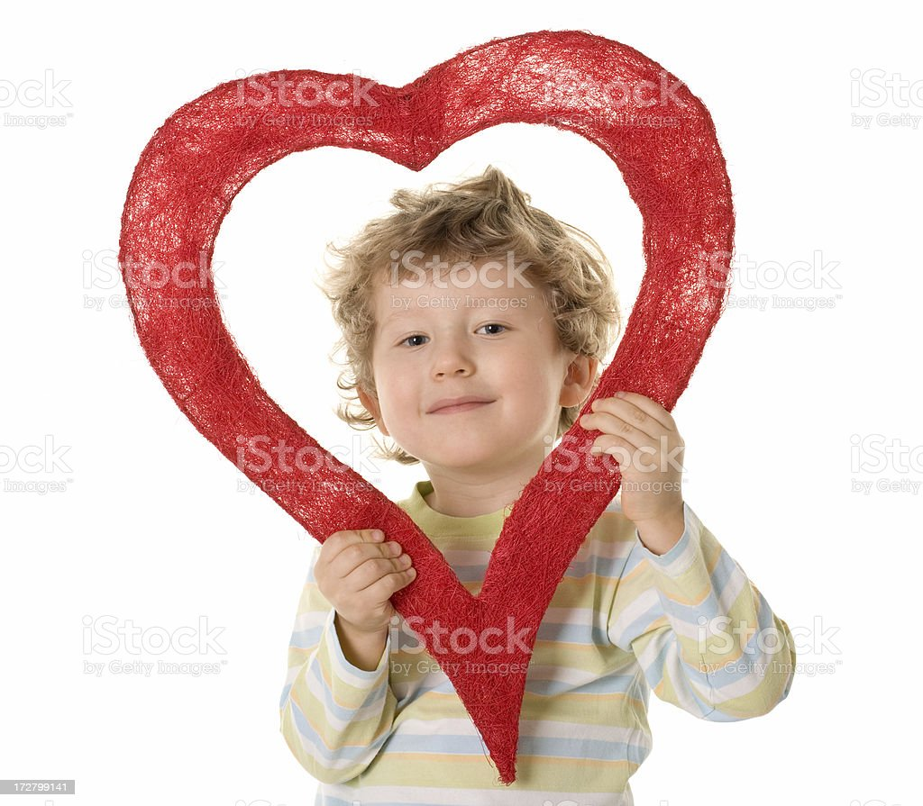 small boy with red heart royalty-free stock photo