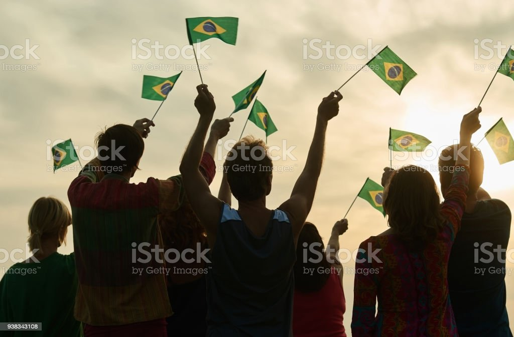 Small brazilian flags. stock photo