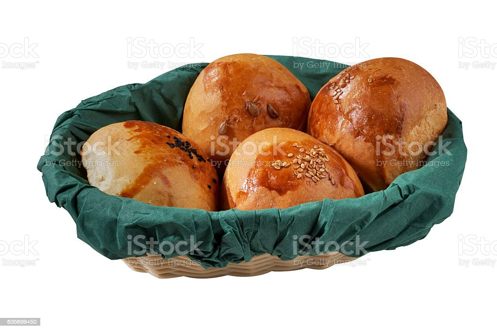small bread buns isolated on white royalty-free stock photo