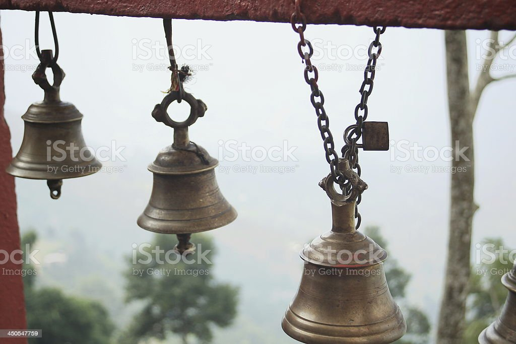 Small bronze bells. Manakamana-Nepal. 0338 royalty-free stock photo