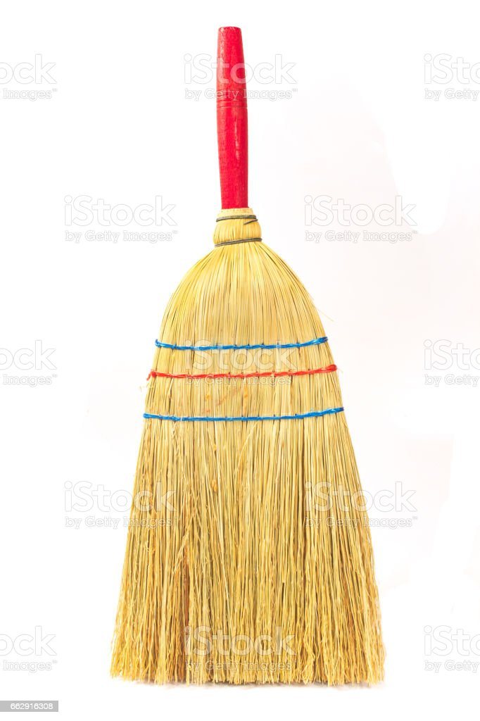 Small broom isolated on white stock photo