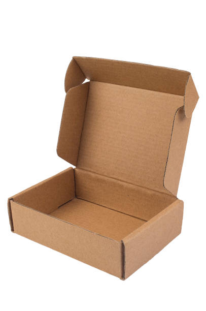 A small brown cardboard box is standing open. Delivery, packaging concept stock photo