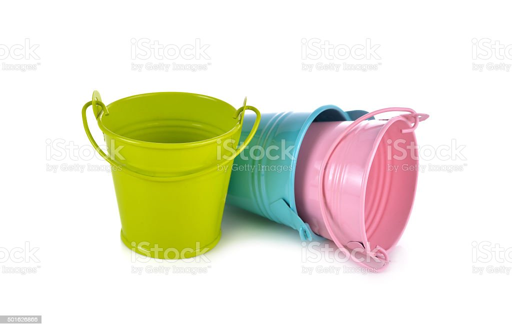 small bucket on white background stock photo