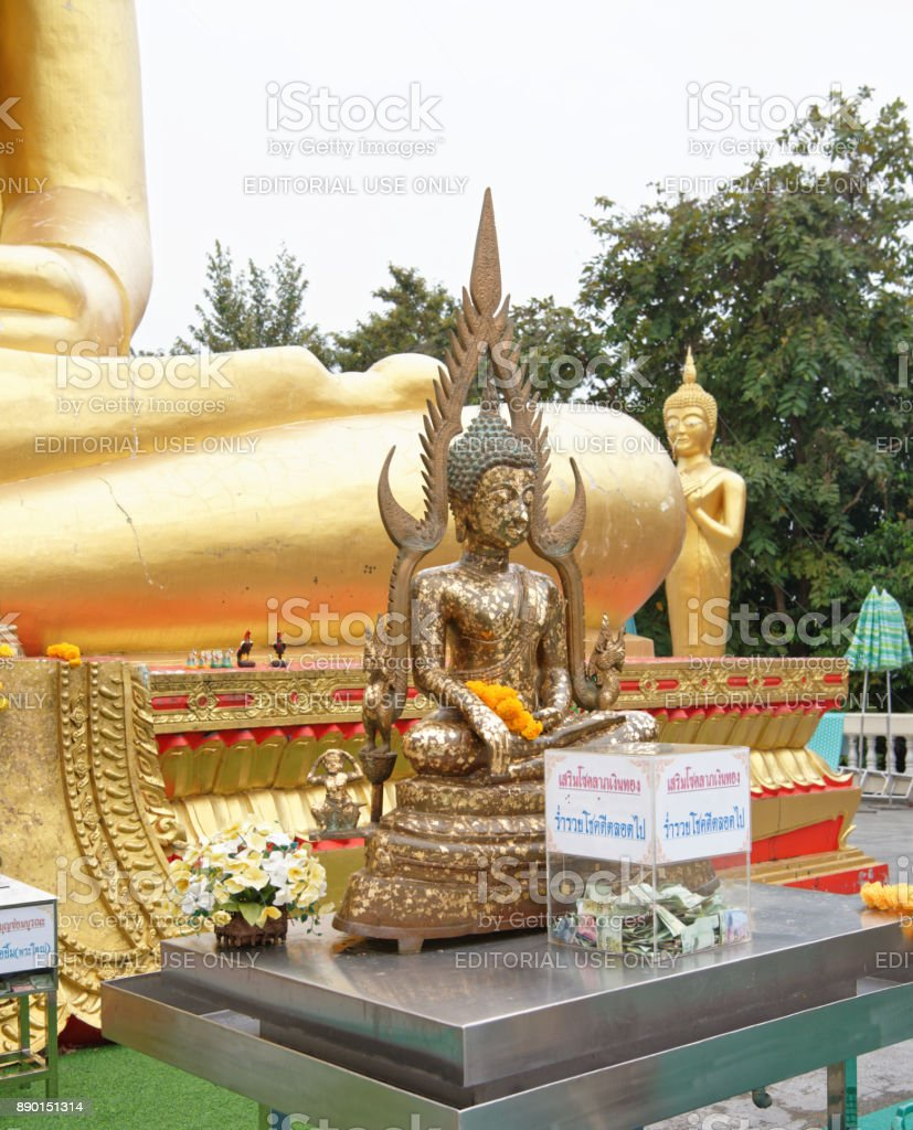 Small Buddha in Wat Phra Yai,The Big Buddha Temple At Pattaya stock photo