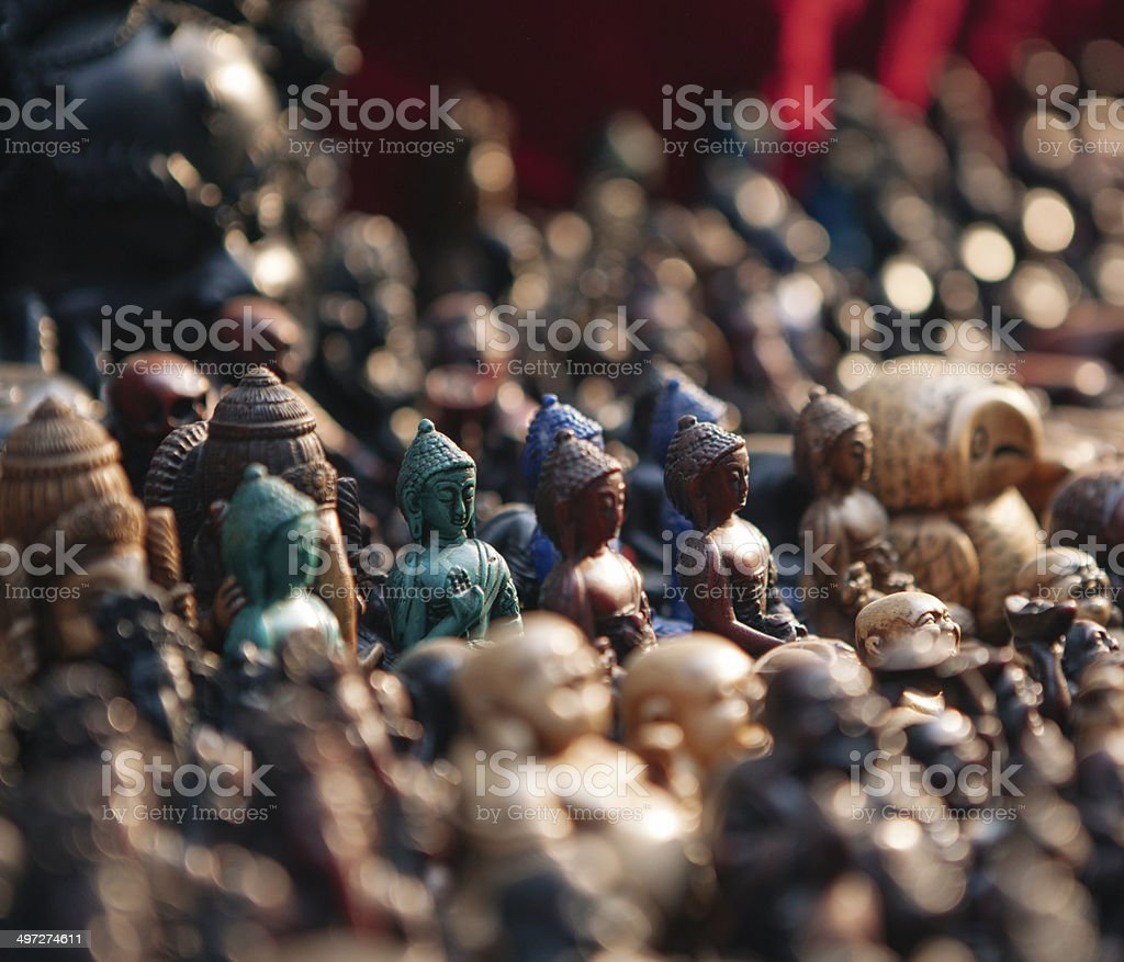 Small buddha statues in curio shops, Nepal. stock photo