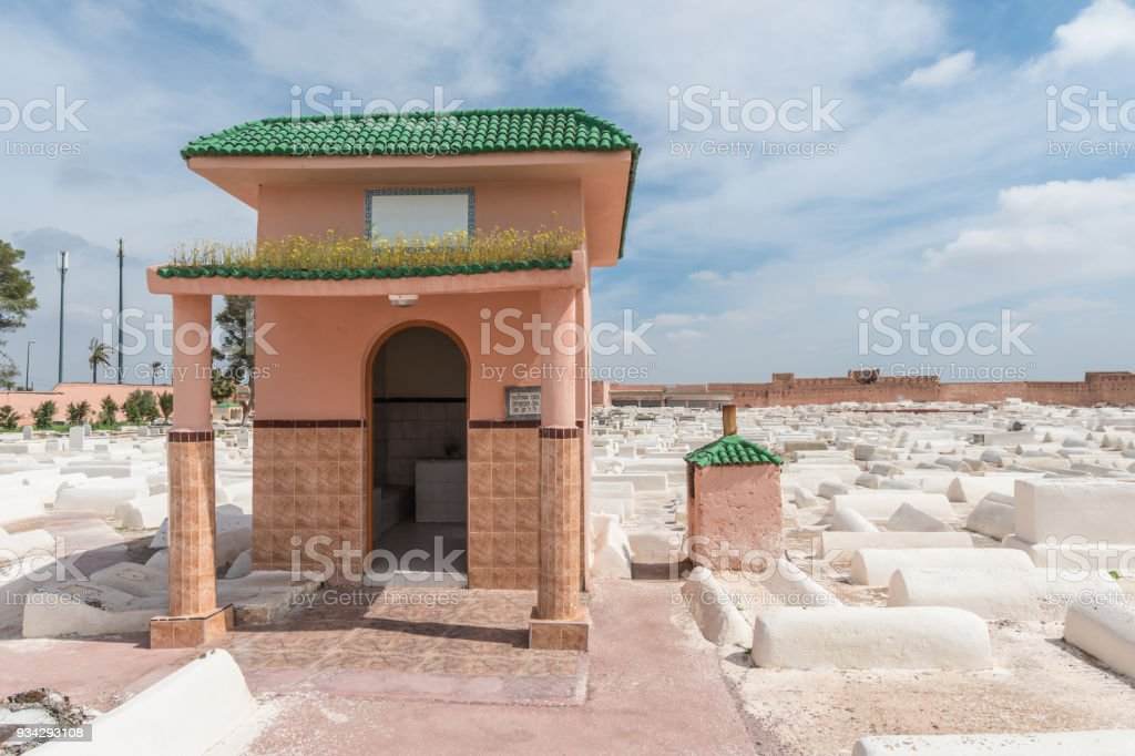 Small building in Miaara Jewish Cemetery in Marrakesh stock photo