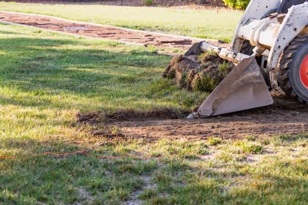 Kleinen Bulldozer Hof Pool Montagevorbereitung Rasen entfernen – Foto