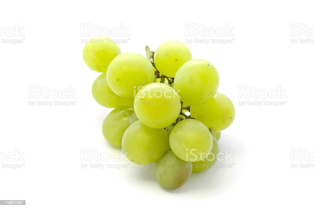 A small bunch of white grapes on a white background stock photo