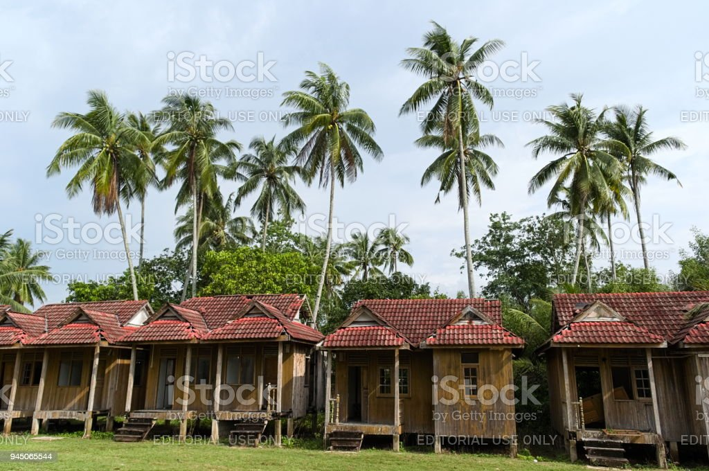 Small bungalows near palm trees stock photo