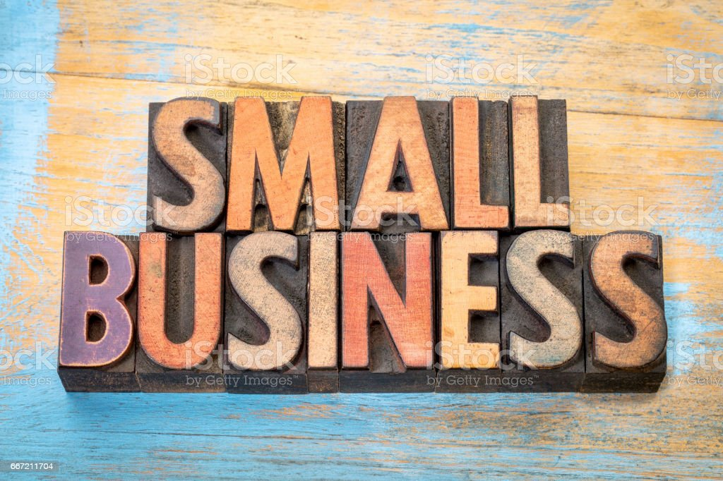 small business banner in wood type royalty-free stock photo