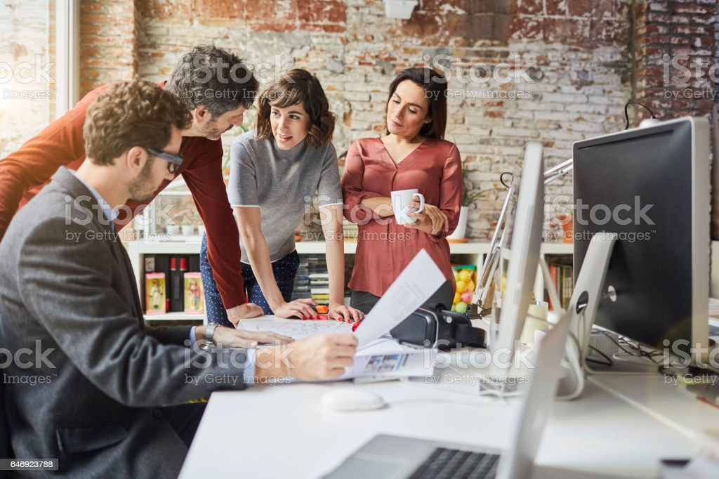 161218 Small business, brainstorming meeting. stock photo