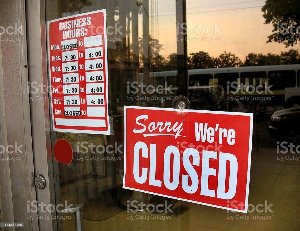 Small Business Closed Sign stock photo