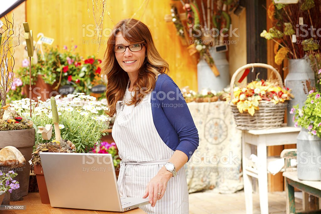 Small Business Flower Shop Owner royalty-free stock photo