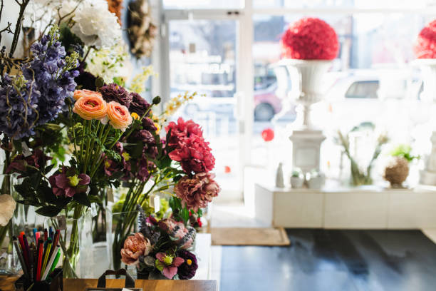 Small business - flower shop stock photo