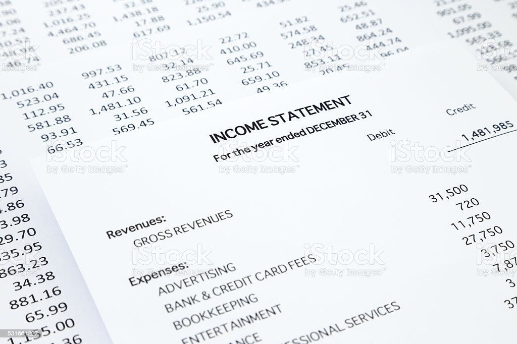 Charming Small Business Income Statement Royalty Free Stock Photo