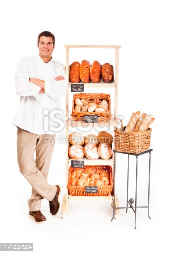 istock Small Business Local Bakery Shop Baker Owner on White Background 171237524
