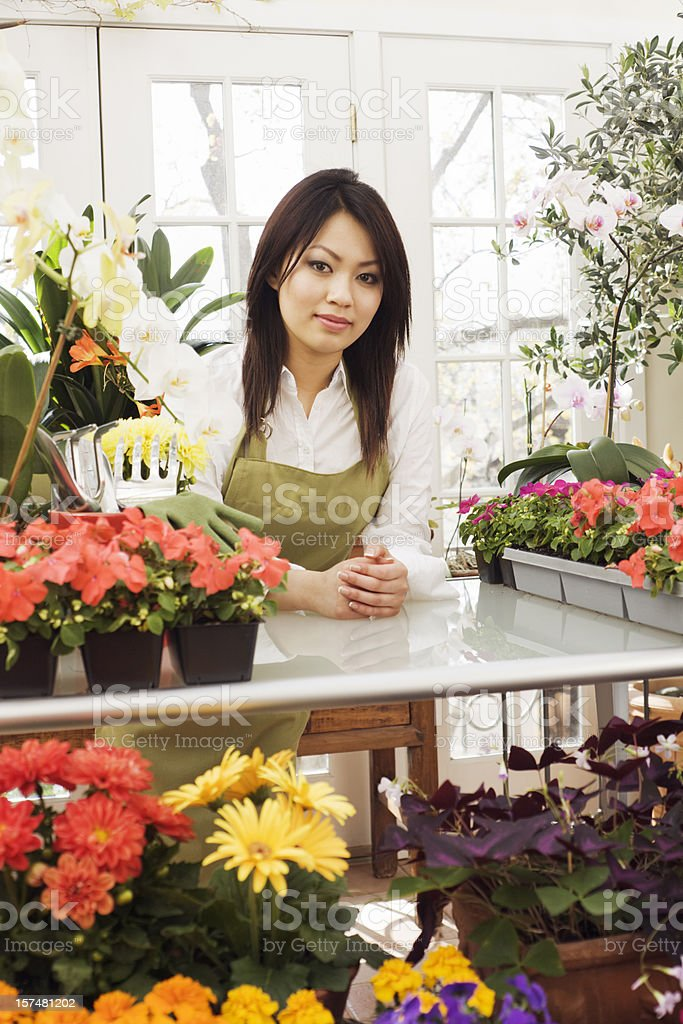 Small Business Owner Asian Woman Florist in Retail Occupation royalty-free stock photo