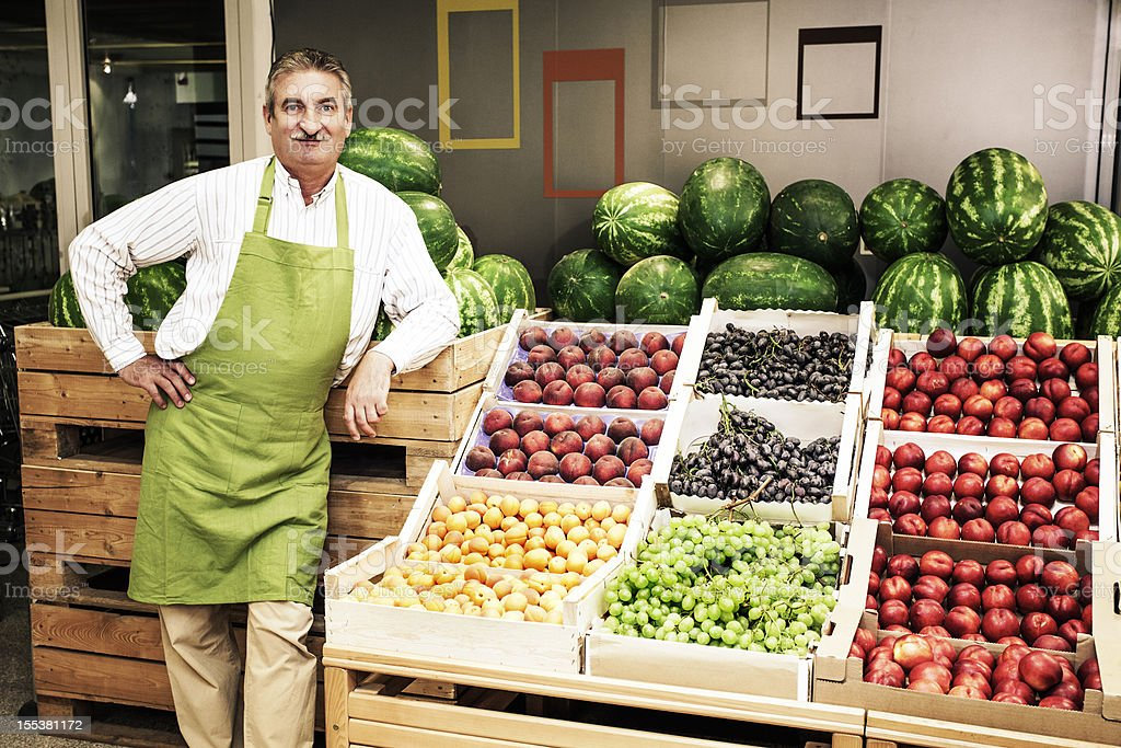 Small Business Owner  In Greengrocer'S Shop stock photo