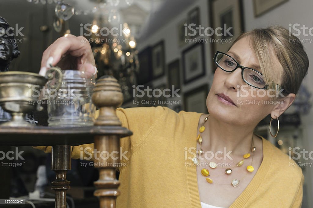 Small Business Owner of an Antique Store stock photo