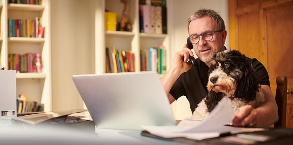 mature man working from home or sorting the home finances