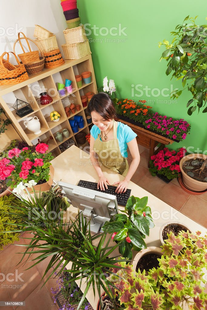 Small Business Retail Flower Garden Center with Store Owner Vt royalty-free stock photo