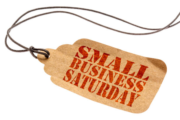 小商業星期六文本上紙價格標籤 - small business saturday 個照片及圖片檔