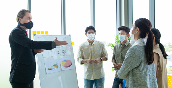 Small business startup multiracial brainstorm meeting with chart paper board everyone mask for covid-19 protection coronavirus flu prevent healthy ideas concept office background.