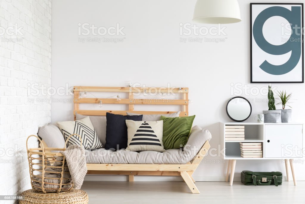 Small but cozy living room stock photo
