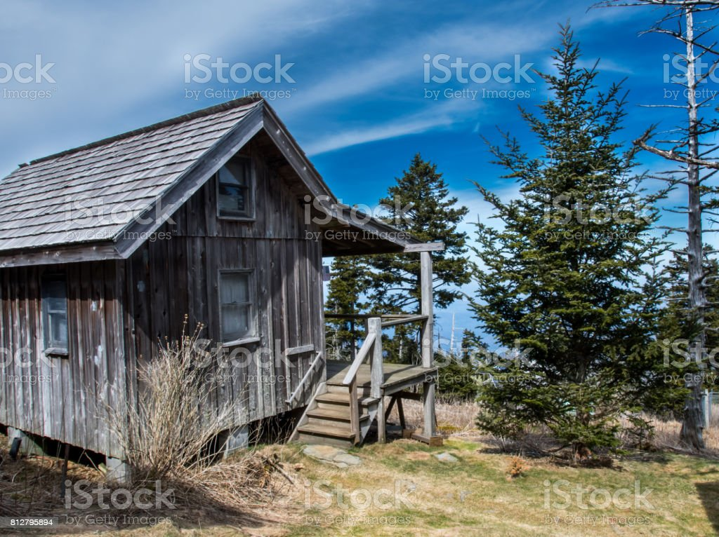 Small Cabin Porch Looking Over Mountain View stock photo