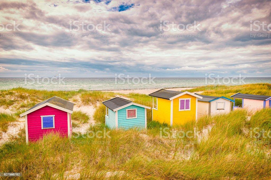 Small cabins at Swedish coast stock photo