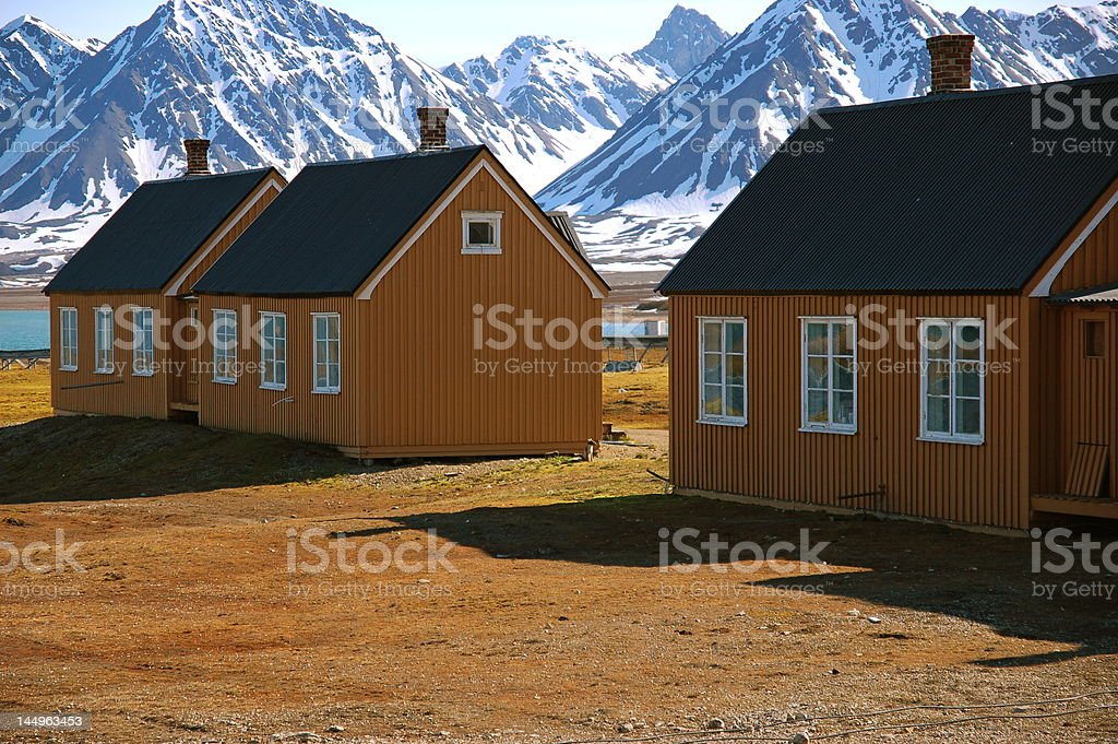 Small cabins in Ny Alesund, Norway stock photo
