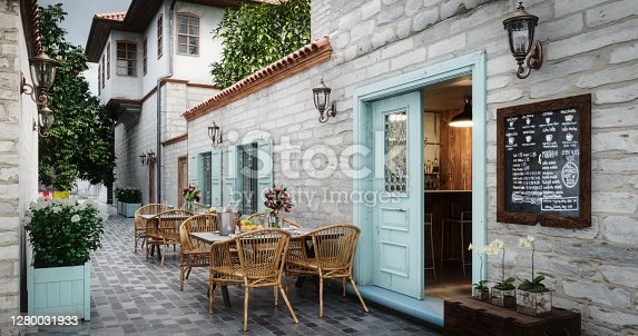 Digitally generated exterior scene of a cozy and small Café.  The scene was rendered with photorealistic shaders and lighting in Autodesk® 3ds Max 2020 with V-Ray 5 with some post-production added.