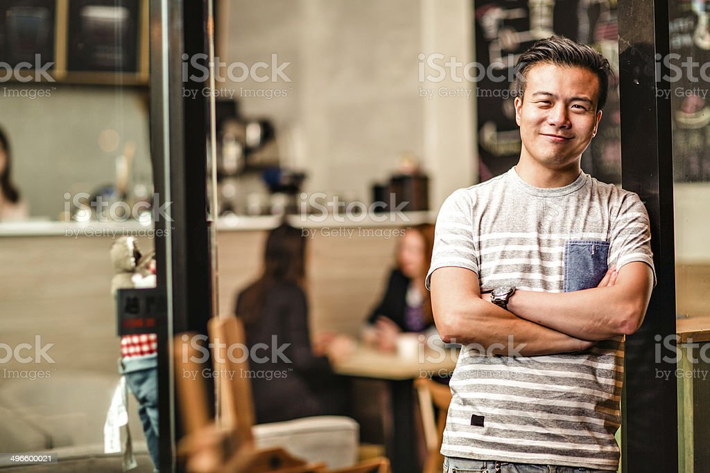 Small cafe business owner in Hong Kong stock photo