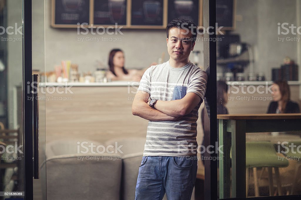 Small cafe owner stock photo