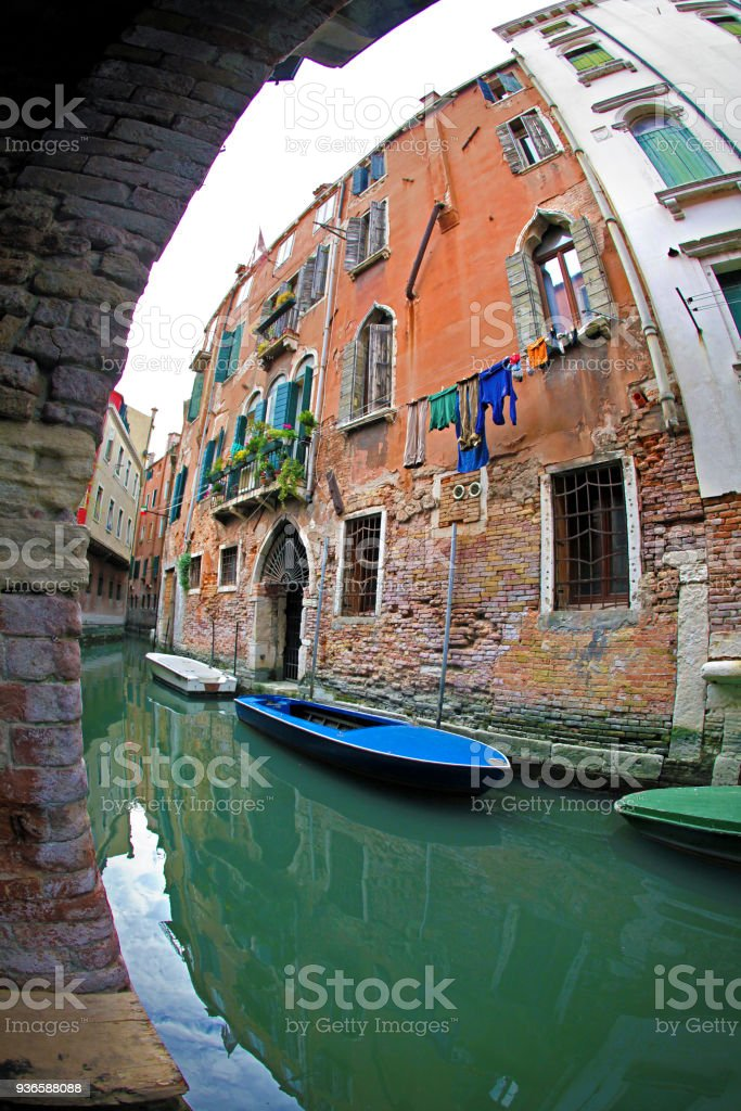 Small canal in Venice stock photo