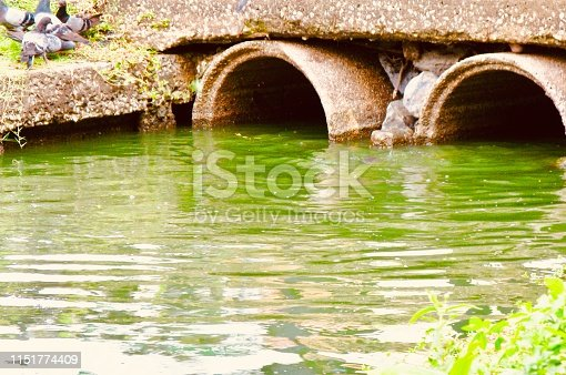 Small Canal with Water Tunnel Under The Bridge or Road in A Park.