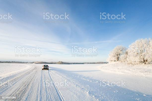 Small car driving along a snowy icy road in winter picture id623865086?b=1&k=6&m=623865086&s=612x612&h=agymdfuift8b3f33tg7znsxevf5u0dvxqixjpia44yw=