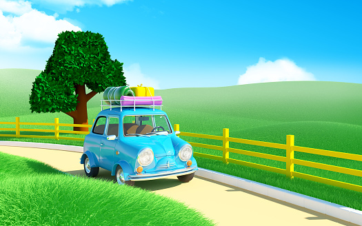 Small trip car on road in farm field