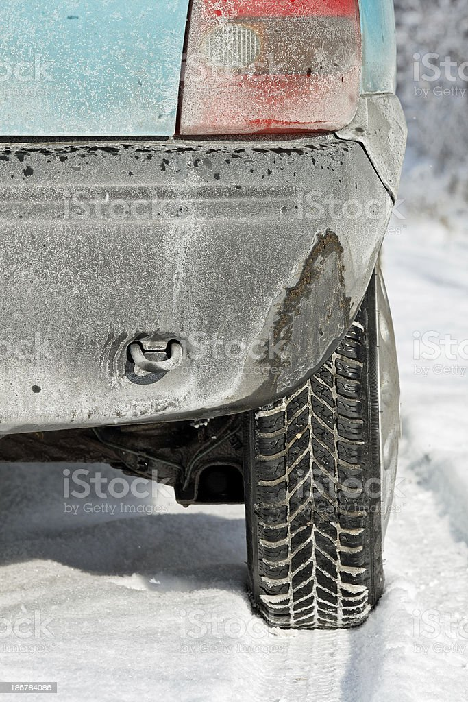 Small car in the snow royalty-free stock photo