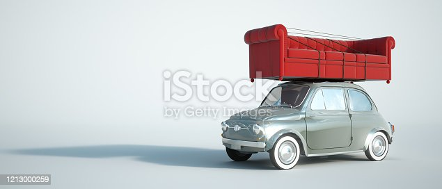 3D rendering of a small retro car carrying a big red sofa